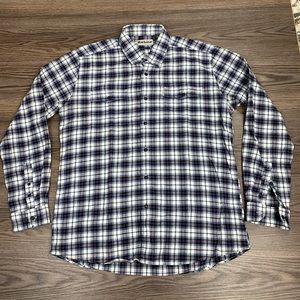 Barbour White & Navy Plaid Flannel Shirt L